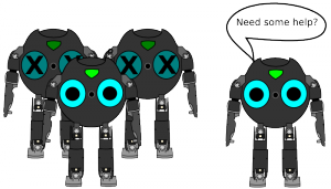 3 Bitbots, 2 of them are inactive, another robot joins the 3