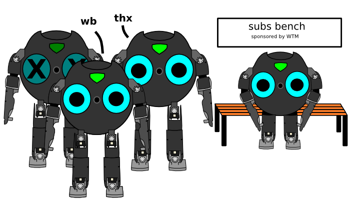 Four Bit-Bots, one of them inactive, one on the subs bench