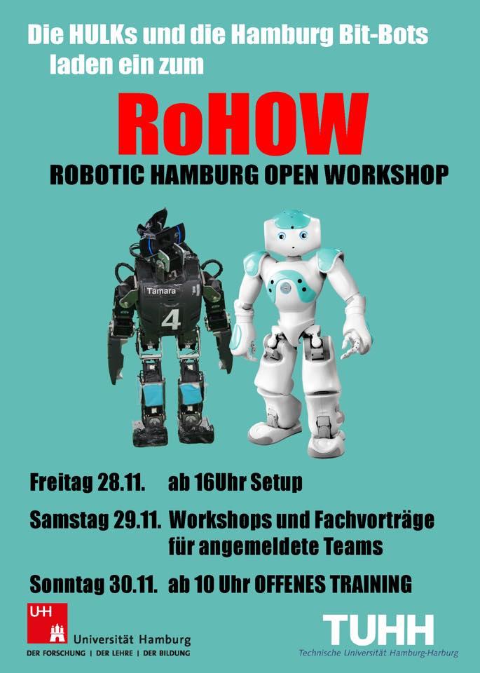 Der Flyer zum 2014 veranstalteten RoHOW der Hamburg Bit-Bots und der HULKS.